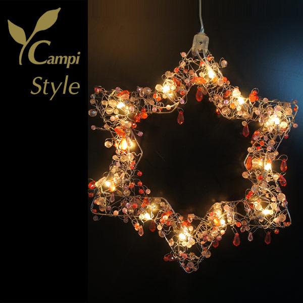 Leuchtstern mit Perlen rot opulent 28x28 cm mit 12 Lämpchen
