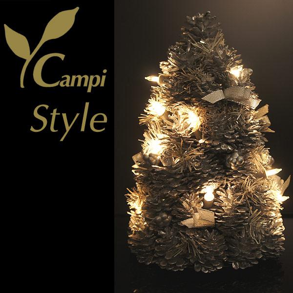 Weihnachtsbaum aus Tannenzapfen silber H 30 cm